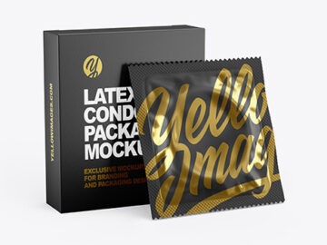 Matte Condom Packaging Mockup