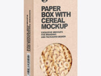 Kraft Paper Box with Breakfast Cereal Mockup
