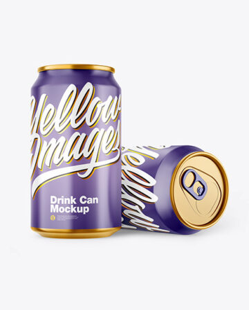 Two Metallic Drink Cans w/ Glossy Finish Mockup