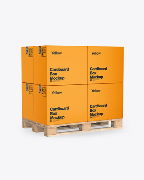 Wooden Pallet With Cardboard Boxes Mockup