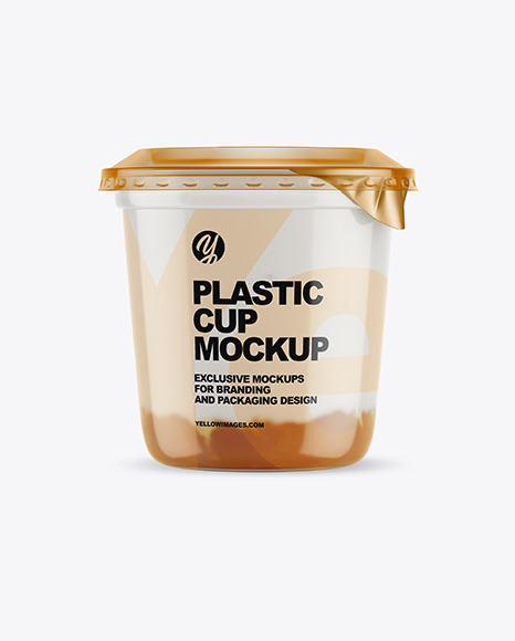 Plastic Cup with Yogurt and Apricot Jam Mockup