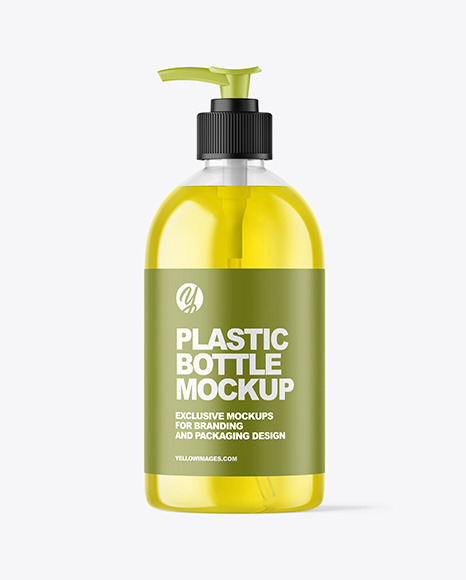 Color Liquid Cosmetic Bottle with Pump Mockup