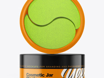Glossy Cosmetic Jar with Patches Mockup