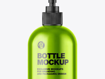 Metallic Sanitizer Bottle w/ Open Pump Mockup