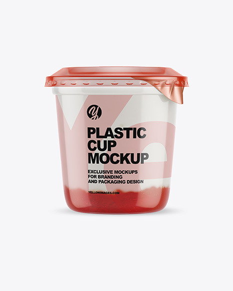 Plastic Cup with Yogurt and Strawberry Jam Mockup