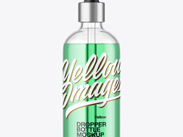 100ml Clear Glass Dropper Bottle Mockup