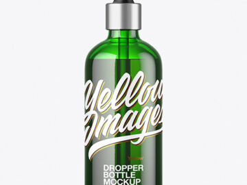 100ml Green Glass Dropper Bottle Mockup