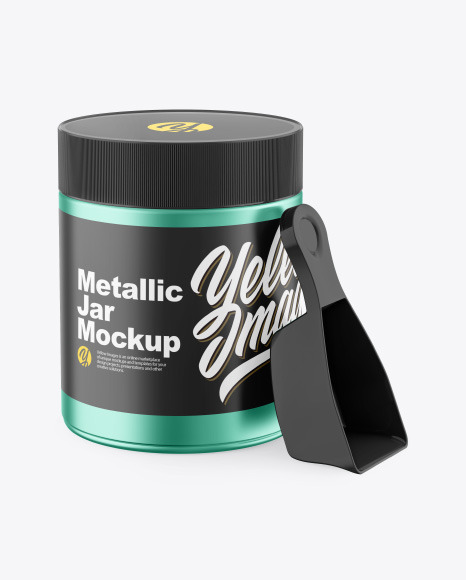 Metallic Plastic Jar w/ Spoon Mockup