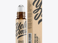 Amber Glass Roller Bottle with Kraft Box Mockup