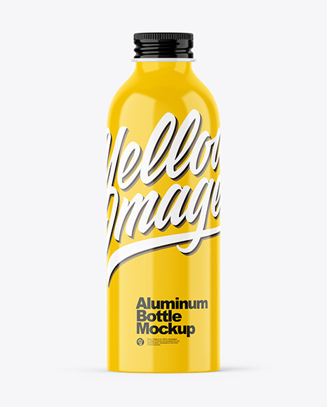 Glossy 200ml Aluminum Bottle w/ Screw Cap Mockup