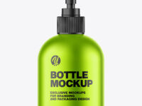 Matte Metallic Sanitizer Bottle w/ Open Pump Mockup