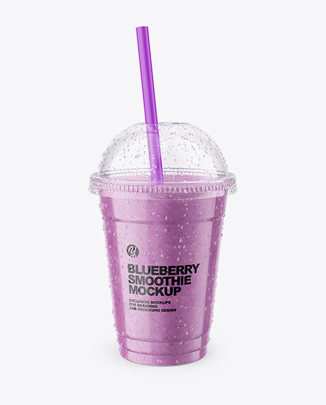 Blueberry  Smoothie Cup with Straw