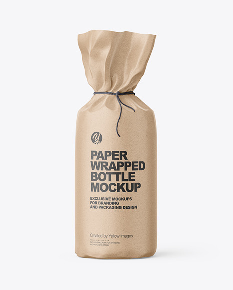 Kraft Paper Bottle Wrapping With Rope Mockup