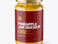 Clear Glass Jar with Pineapple jam Mockup
