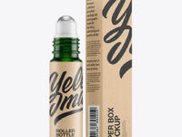 Green Glass Roller Bottle with Kraft Box Mockup