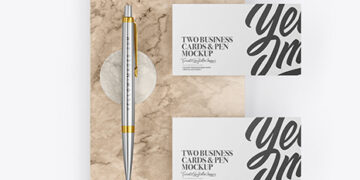 Two Business Cards & Pen with Marble Mockup