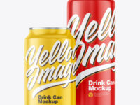 Two Glossy Drink Cans Mockup