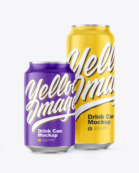 Two Matte Drink Cans Mockup