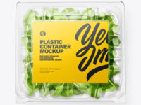 Transparent Plastic Container with Green Spinach Leaves Mockup - Top View