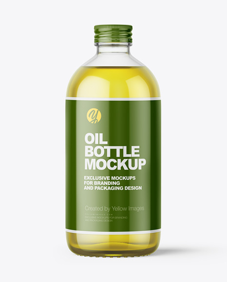 Glass Bottle With Olive Oil And Screw Cap Mockup - Front View