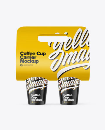 Glossy Coffee Cup Carrier Mockup