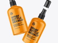 Two Matte Spray Bottles Mockup