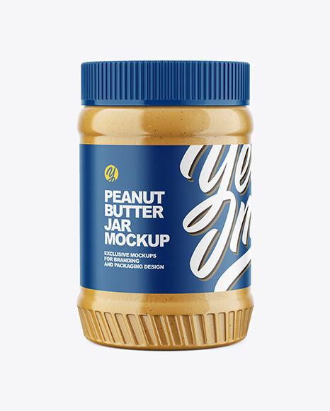 Clear Plastic Jar with Peanut Butter Mockup