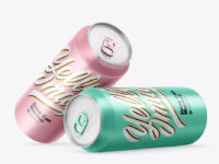 Two Matte Metallic Drink Cans Mockup