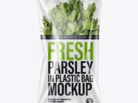 Plastic Bag With Fresh Parsley Mockup
