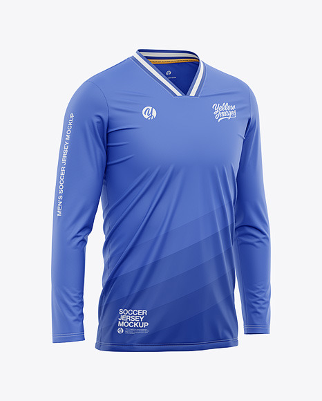 Men's Long Sleeve Soccer Jersey Mockup - Front Half-Side View