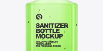 Glossy Hand Sanitizer Bottle Mockup - Front View