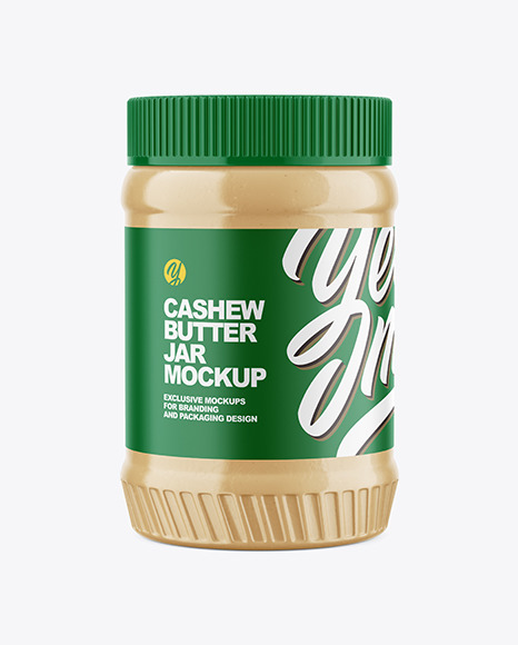 Clear Plastic Jar with Cashew Butter Mockup