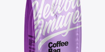 Matte Metallic Coffee Bag With Valve - Half Side View