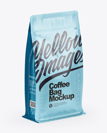 Glossy Coffee Bag With Valve - Half Side View