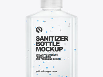 Glossy Hand Sanitizer Bottle Mockup with Glitter - Back View