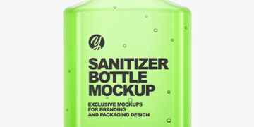 Glossy Hand Sanitizer Bottle Mockup - Back View