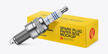 Spark Plug with Paper Box Mockup