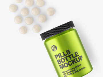 Metallic Pills Bottle Mockup