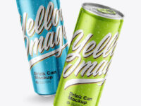 Two Metallic Drink Cans Mockup