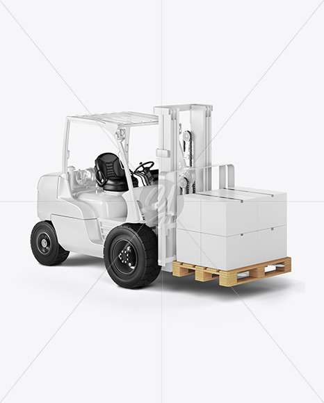 Forklift Mockup - Half Side View