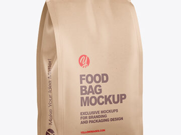 Kraft Food Bag Mockup - Half Side View