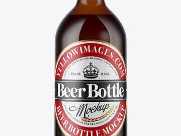 Amber Glass Bottle With Red Ale Mockup