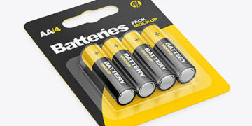4 Pack Battery AA Mockup