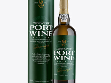White Wine Porto Bottle with Tube Mockup