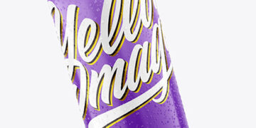 440ml Metallic Drink Can With Glossy Finish And Condensation Mockup