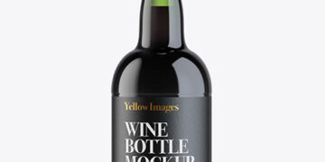 Green Glass Porto Wine Bottle Mockup