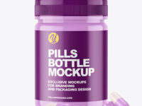 Glossy Bottle with Pills Mockup