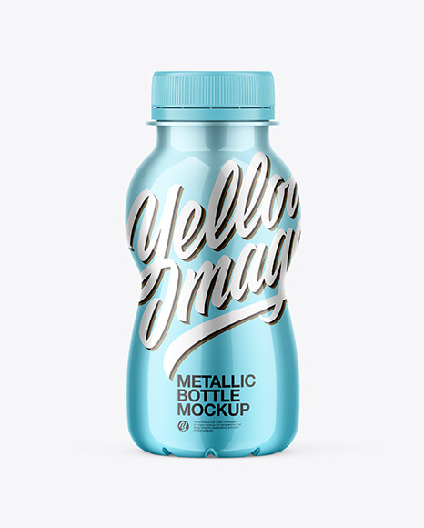 Glossy Metallic Bottle Mockup