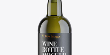 Antique Green Glass Porto Wine Bottle Mockup