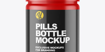 Matte Bottle with Pills Mockup